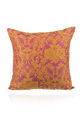 Pink N Yellow Art Silk Cotton Cushion Cover