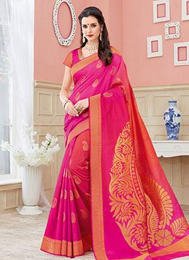 Pink N Orange Art Silk Saree