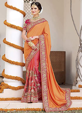 Pink N Orange Half N Half Saree