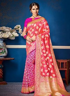 Pink N Orange Art Benarasi Silk Saree