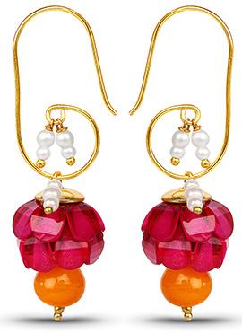 Pink N Orange Hook Earring