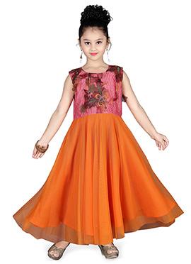 Pink N Orange Net Kids Gown