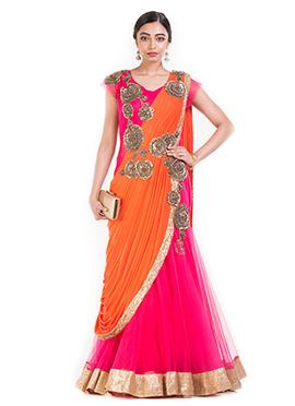 Pink N Orange Net Saree Gown