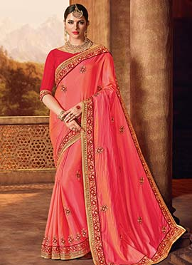 Pink N Peach Dual Tone Embroidered Saree