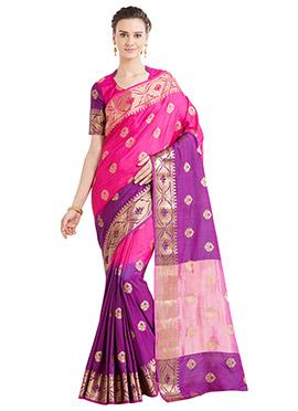 Pink N Purple Art Benarasi Silk Saree