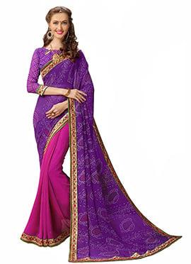 Pink N Purple Bandhini Saree