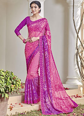 Pink N Purple Chiffon Brasso Saree