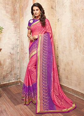 Pink N Purple Chiffon Saree