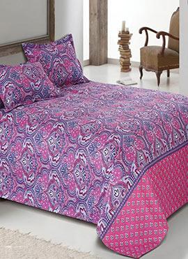 Pink N Purple Cotton Viscose Bed Sheet Set