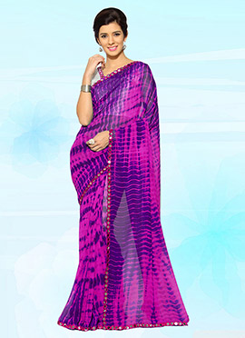 Pink N Purple Georgette Saree