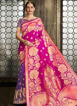 Pink N Purple Art Benarasi Silk Saree