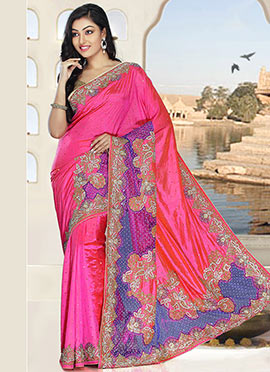Pink N Purple Pure Silk Saree