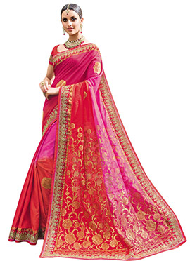 Pink N Red Art Silk Saree