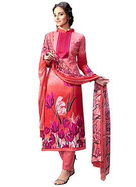 Pink N Red Blended Cotton Straight Pant Suit