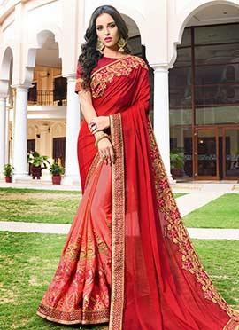 Pink N Red Embroidered Half N Half Saree