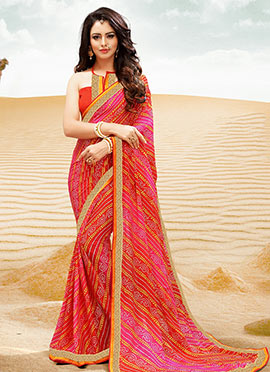 Pink N Red Georgette Bandhini Saree