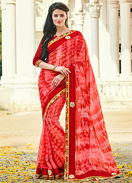 Pink N Red Georgette Saree