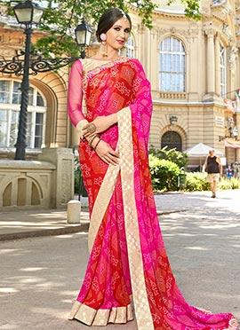 Pink N Red Georgette Saree