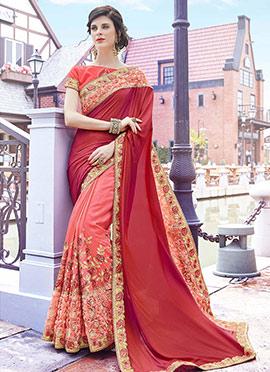 Pink N Red Half N Half Saree