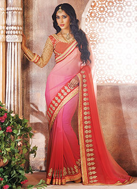Pink N Red Ombre Georgette Saree