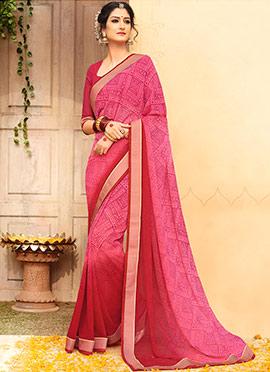 Pink N Red Printed Saree