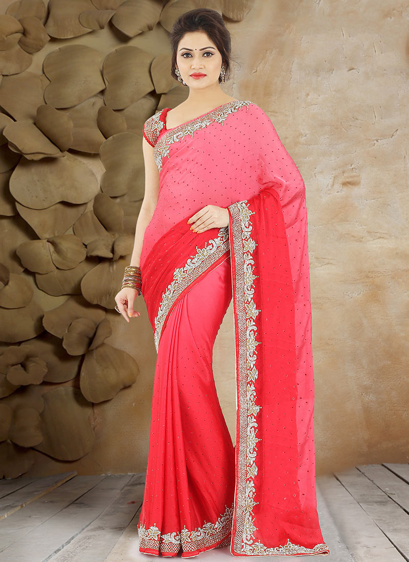 d2e99a27f9 Buy Pink N Red Pure Satin Saree, Stones , Hand Work, sari Online ...
