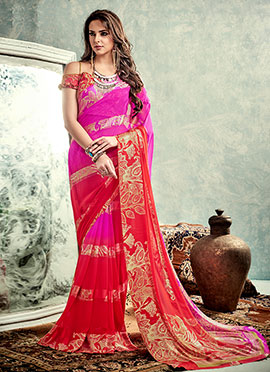 Pink N Red Satin Saree