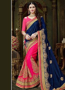 Pink N Royal Blue Embroidered Half N Half Saree