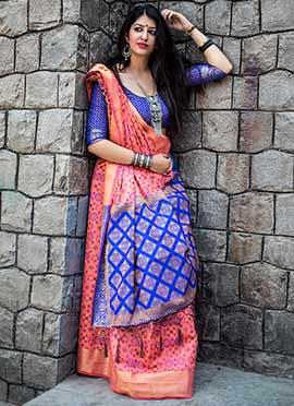 Pink N Royal Blue Patola Silk Saree