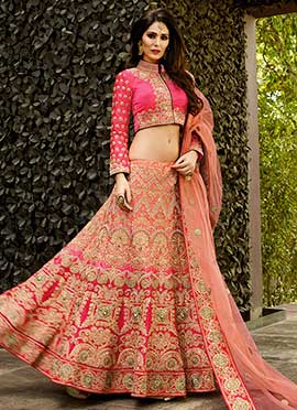 Pink N Salmon Pink Umbrella Lehenga Choli