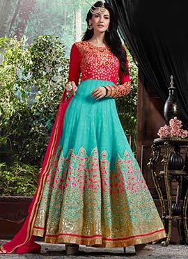 Pink N Sea Blue Anarkali Suit
