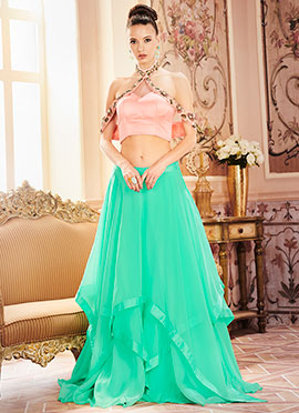 Pink N Sea Green Skirt Set