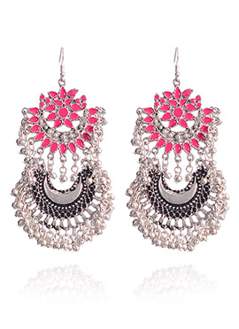 Pink N Silver Hook Style Chaand Bali Earrings
