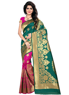 Pink N Teal Green Art Silk Half N Half Saree