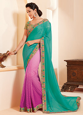 Pink N Teal Green Half N Half Saree