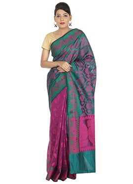 Pink N Teal Green Reversible Saree