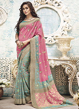 Pink N Turquoise Blue Art Silk Saree