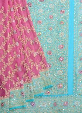 Pink N Turquoise Pure Chiffon Saree
