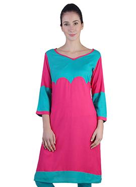 Pink N Turquoise Rayon Kurti