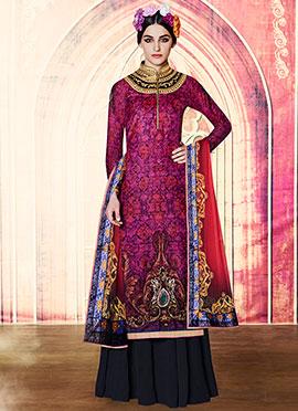 Pink N Violet Velvet Palazzo Suit