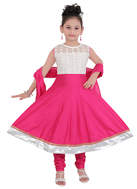 Pink N White Art Silk Kids Anarkali Suit