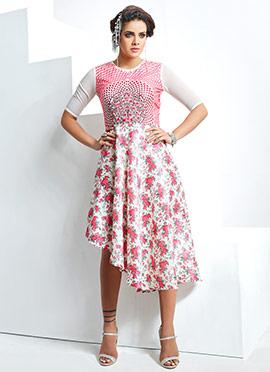 Pink N White Asymmetric Dress