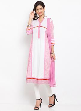 Pink N White Cotton Churidar Suit