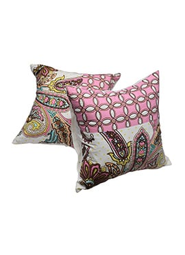 Pink N White Cotton Cushion Cover