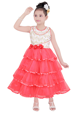 Pink N White Kids Layered gown