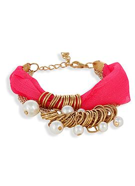 Pink N White Ribbon Bracelet