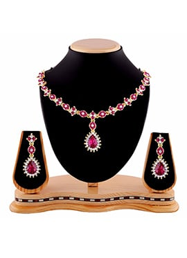Pink N White Stone Necklace Set
