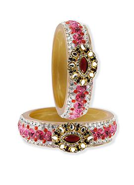 Pink N White Stone Ornate Bangles