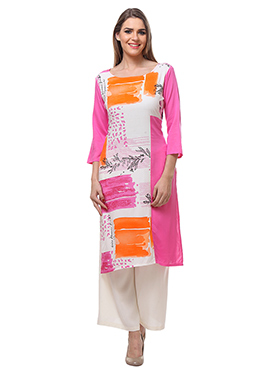 Pink N White Viscose Palazzo Suit