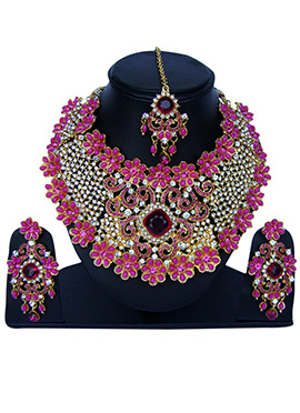 Pink N White Zircon Stone Necklace Set